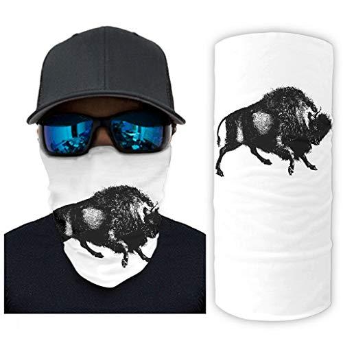 CCMugshop Braga para la cara negra de búfalo con impresión artística para el cuello, reutilizable, color blanco, talla única