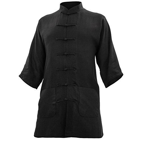 wu designs Baumwolle (Leicht) Kung Fu & Tai Chi Shirt Stehkragen Kurzarm - Taiji Anzug Weiss 190