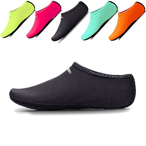 JIASUQI Womens Mens Athletic Swimming Water Skin Shoes Aqua Socks Black XXL US 11-13 Women,9-11 Men