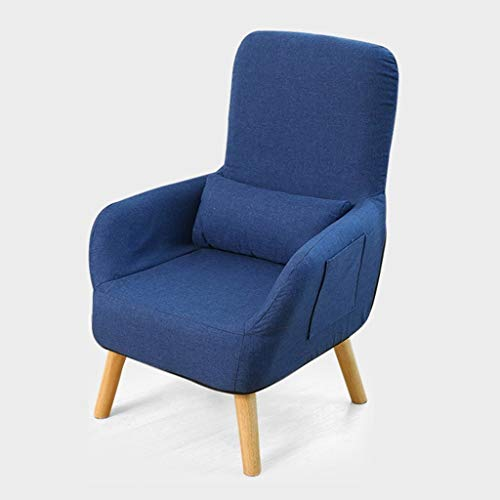 YLCJ Sofá Individual Sillón de Lactancia Respaldo del Respaldo Silla reclinable Silla Taburete Dormitorio (Color: Azul Tamaño: L)