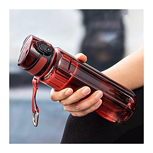 HYMD Botella de Agua Deportiva Botella de Agua de plástico de Viaje a Prueba de Fugas portátiles de los Deportes al Aire Libre 350 ml, 500ml, 750ml, 950ml (Color : Red, Pojemność : 750ml)