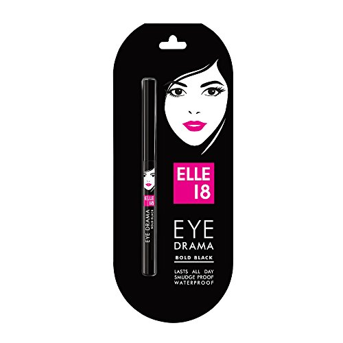 Elle 18 Eye Drama Kajal, Super Black, Smudgeproof & Waterproof, 0.35 g
