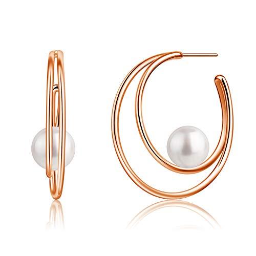 B.Catcher Hoop Pearl Earrings 18K Gold Plated for women