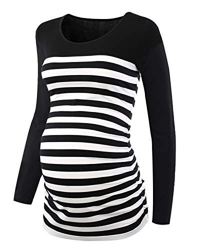 Love2Mi Damen Schwangere Langarm Striped T-Shirt Umstandsshirt Schwangerschaft Rundhals Top, Schwarze Streifen, L