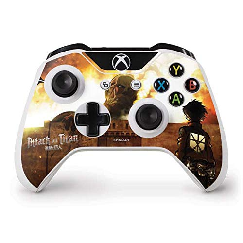 Skinit Decal Gaming Skin Compatible with Xbox One S Controller - Officially Licensed Funimation Attack On Titan Fire Design