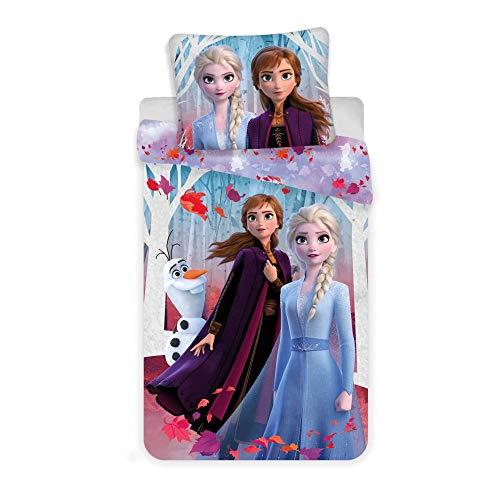 Frozen 2 - Set copripiumino e federa, 100% cotone, 140 x 200 cm + 70 x 90 cm
