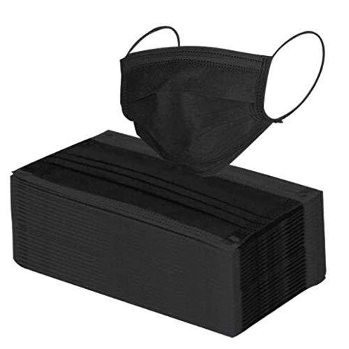 100 Stück Atmungsaktive Einmal-Mundschutz Erwachsene Einzeln verpackt 3-lagig Staubs-chutz Mundbedeckung Bandana Face-Mouth Cover Verstellbarer Halstuch (schwarz)