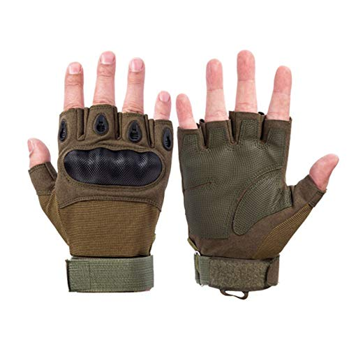 SFEEXUN Tactical Fingerless Gloves for Men, Military Knuckle Combat Gloves Army Armored Airsoft Gloves for Motorbike Cycling Climbing Hiking Hunting Boxing (Green, L)
