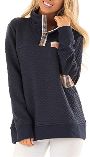 Women's Button Neck Quilted Pullover Sweatshirts Patchwork Elbow Patches Tops Outwear Navy