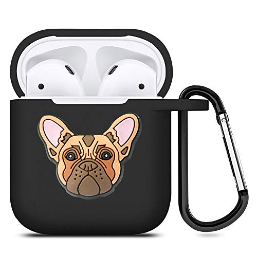 French Bulldog AirPods Case Black Soft TPU Full Protective Cover Compatible with AirPods 2 & 1