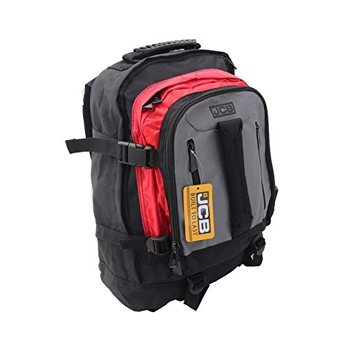 JCB Expandable Backpack Rucksack Style BP18 Large 43 x 35 x 17cm Heavy Duty in Black/Grey/red,