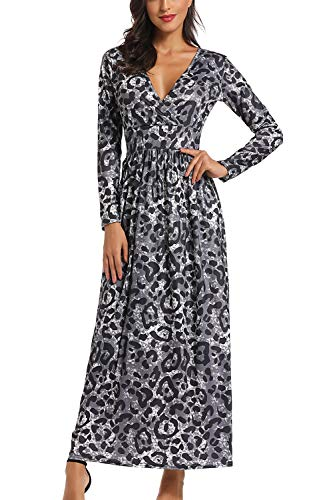 Buockipo Women's Long Sleeve Maxi Dresses V Neck Leopard Snake Skin Wrap Waist Long Dresses...