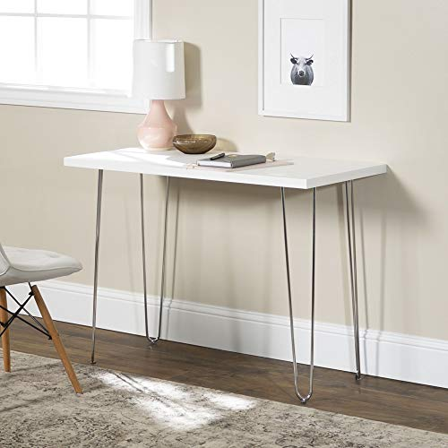 Walker Edison Furniture Company Mid Century Modern Hairpin Wood Laptop Computer Writing Desk Home Office Workstation Small, 42 Inch, White