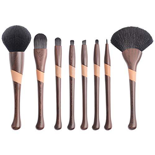 A/N Pinceaux de maquillage professionnels 8 pièces Set de pinceaux de maquillage Eyeliner Shader Manche en bois Synthétique naturel