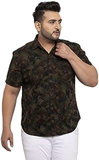 pluss Men's Brown Printed Half Sleeve Shirt