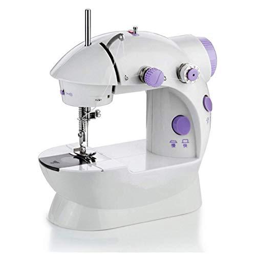 Mini máquina de coser portátil multifunción de rosca doble Máquina de coser incluye 1 X aguja, 1 X enhebrador, 4 X Bobinas, Pedal 1 X-pie-1 Adaptador X SluoYiS