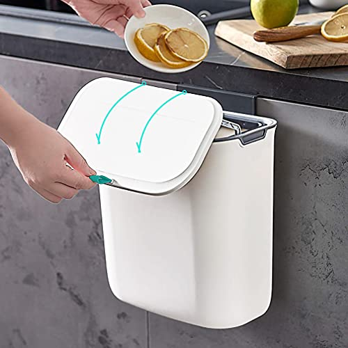 Aupekro Hanging Trash Can with Lid for Kitchen Cabinet Door, 2.3...