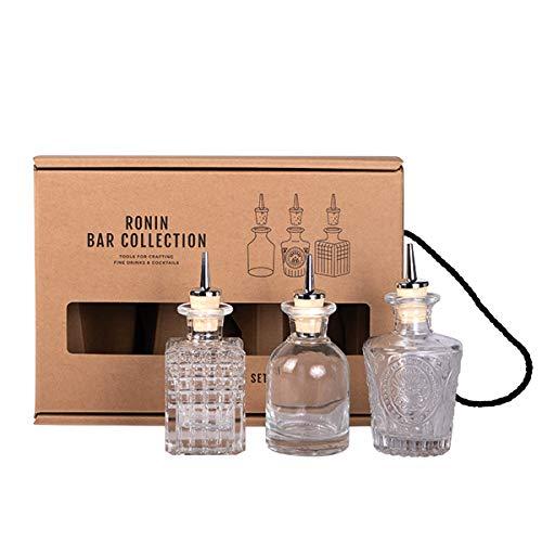 Ronin Bar Collection Cocktail Set Dash Bottle, Geschenkbox mit 3 Spritzflaschen aus Glas und Spritzflaschengießer, Bitter Flasche, Angostura für Mixologist