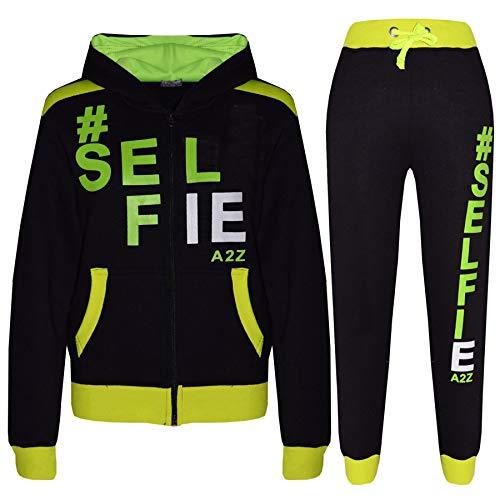 A2Z 4 Kids® Kinder Mädchen Jungen #Selfie - T.S Selfie 01 Black & Neon Green 11-12