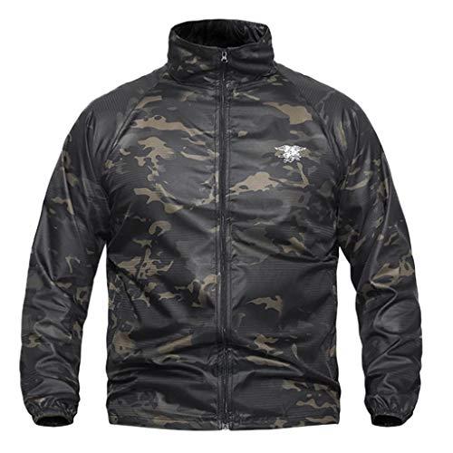 Geilisungren Chaqueta Hombre Softshell Impermeable Aire Libre Windbreaker Deportes con Capucha Hombres Mujeres Impermeable Tactical Soft Shell Jacket