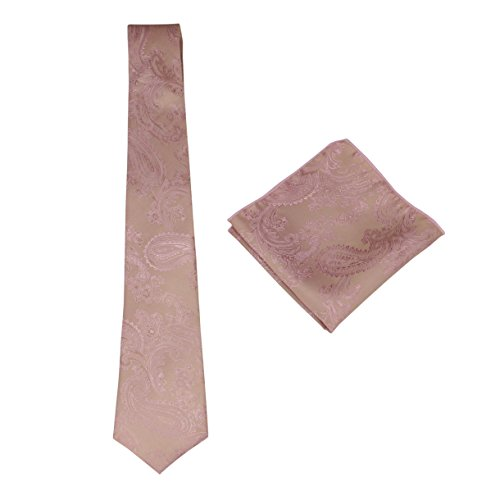 Mens Silk Paisley Tie Set: Necktie and Pocket Square (Rose Gold)