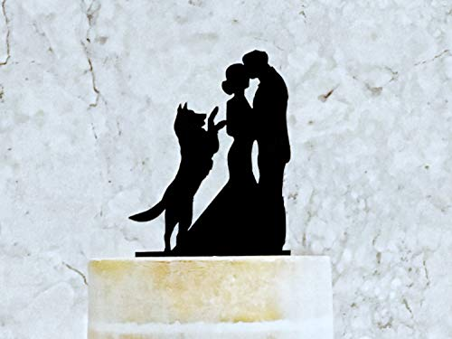 Decoración para tarta de boda con silueta de novia y novio y decoración para tarta de boda con perro pastor alemán