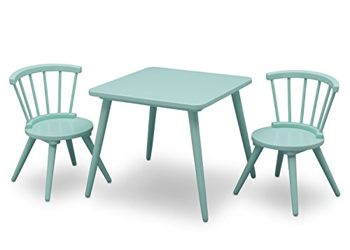 Delta Children Windsor Kids Wood Table and Chair Set (2 Chairs Included), Aqua
