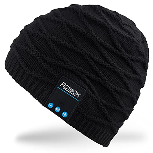 Mydeal Winter Washable Bluetooth Music Beanie Warm Soft Knitted Trendy Short Skully Hat Cap w/Wireless Headphone Headset Earphone Mic Hands Free for Excrise Gym Sports Fitness Running Skiing - Black