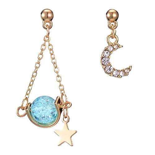 DAMAJIANGM Pendientes Largos de Perlas de Diamantes con Borla de Luna y Estrella para Mujer, atmósfera Simple, Salvaje, asimétrico