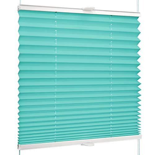 SchattenFreude Basic Klemmfix-Plissee für Fenster   Mit Klemm-Haltern   Ohne Bohren   Türkis, Breite: 35cm x Höhe: 100cm