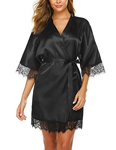 Lucyme Mujer Bata Kimono Batas Cortas Satén Lencería Camisón Elegante Albornoces Ropa de Casa Mujer