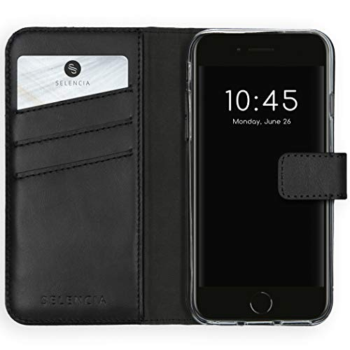 Selencia kompatibel mit iPhone 6/6s/7/8/SE 2020 Hülle – Era Leder Handytasche Side Flip Hülle – Handyhülle aus Rindsleder in Schwarz [3 Kartenfächer, Magnetverschluss]