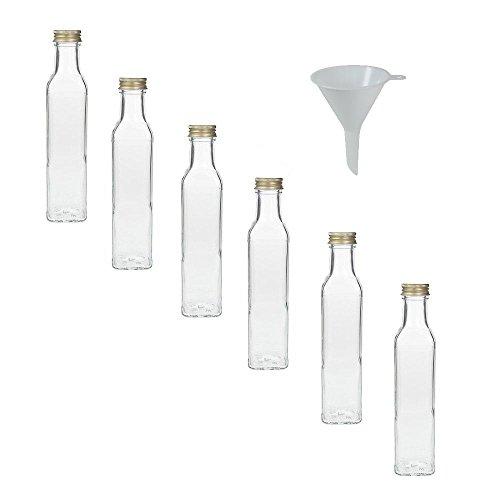 Viva Haushaltswaren - 6 x Glasflasche 250 ml mit Schraubverschluss, leere Flaschen zum Befüllen als Ölflasche, Schnapsflasche, Einmachflasche etc. verwendbar (inkl. Trichter Ø 7 cm)