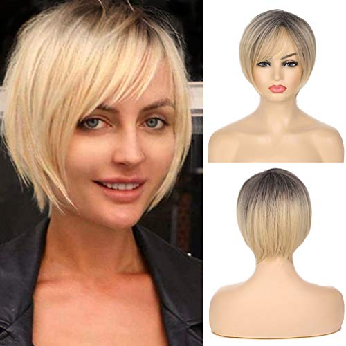 Swiking Ombre Blonde Wig Short Bob Straight Dark Roots Wig with Bangs for Women Natural Synthetic Hair Daily Party Full Wigs
