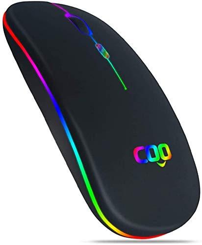 Mouse Bluetooth Wireless, Mouse Portatile Ricaricabile Retroilluminato Ultrasottile Silenzioso con 3 Livelli DPI (1000/1200/1600) e Mini Ricevitore USB Compatible con MAC, PC, Laptop, Windows (Nero)