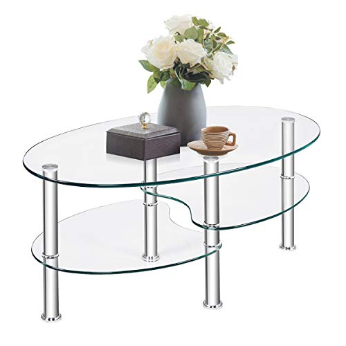 COSTWAY Tavolino da caffè, Tavolino da tè con Design Ovale, Tavolino da Salotto con 3 Livelli e Grande Spazio, Tavolo in Vetro per Casa e Ufficio, Vetro Temperato (Trasparente)