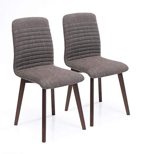 Kare Design Stuhl Lara 2er Set, bequemer, moderner Esszimmerstuhl im Retro Design, Wohnzimmerstuhl, Massivholz Buche Bein, braun (H/B/T) 92 x 44 x 45 cm