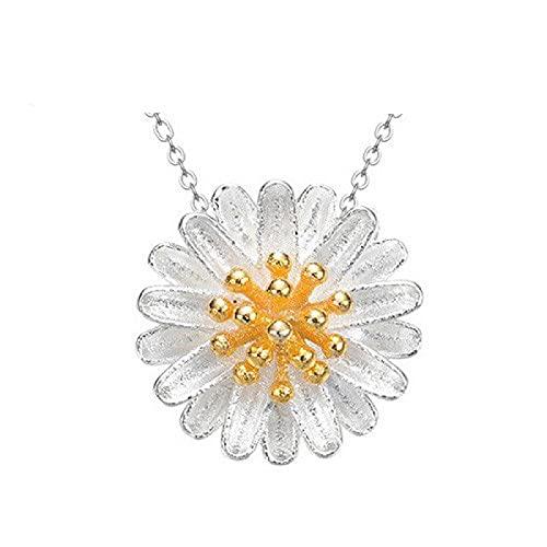 xu Pequeño Collar de crisantemo Femenino crisantemo clavícula Margarita Moda pequeña joyería Fresca y Simple