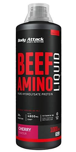 Body Attack Beef Amino Liquid Cherry- flüssiges Protein-Hydrolysat, 4800 mg EAAs, 2800 mg BCAAs, essentielle Aminosäuren vom Rind, plus Vitamin B6, aspartamfrei, Made in Germany (1000ml)