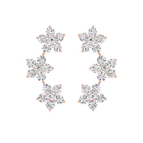 Aretes de cartílago de flor de diamante con certificado SGL de 0,27 ct, oro de 14 k, triple floral curvado, hélix, tragus, caracola, vintage, fiesta 18K Oro rosa, Par