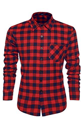 COOFANDY Camisa para hombre de franela de algodón puro, corte ajustado., Rojo y azul., S