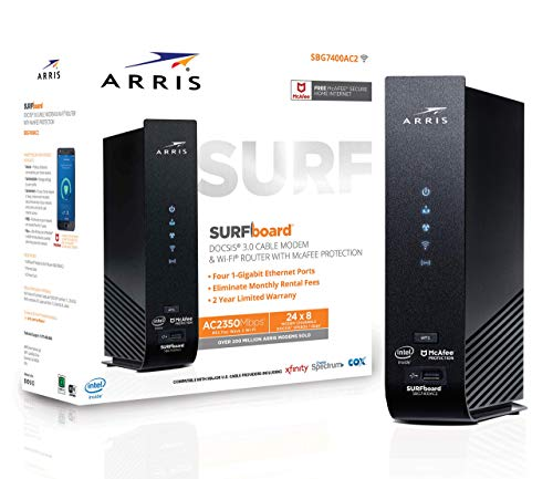 ARRIS SURFboard (24x8) DOCSIS 3.0 Cable Modem Plus AC2350 Dual Band Wi-Fi Router, approved for Cox, Spectrum, Xfinity & more (SBG7400AC2) (Renewed)