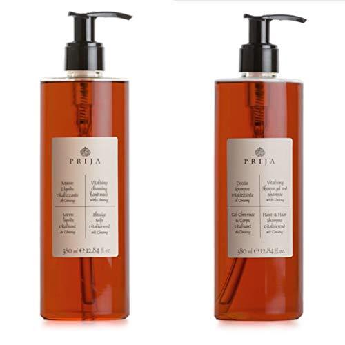 Prija Flüssigseife + Hair & Body mit Ginseng mit Pumpspender 2x 380ml Soap Wellness Spa