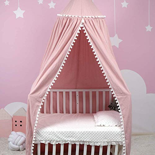 Uaugh Baby Crib Tent,Canopy Mosquito Net for Kids Baby Bed,Insect Protection Hanging Canopy,Dome Tent Room for Kids(Grey 93inches (Pink)