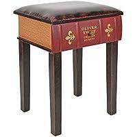 ts-ideen Taburete banqueta Asiento sofá Banco de Corredor Estilo de Vintage Libros Rustico Rojo con un cajón