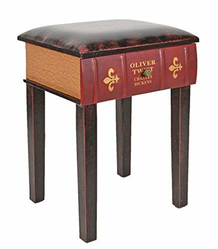 ts-ideen Hocker Stuhl im Buch Look Schublade Antik Vintage für Sekretär Kommode Klavier