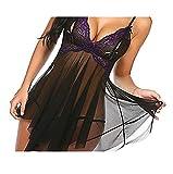 WemaSoo6 Babydoll Donna Sexy, Vestiti Sexy Donna Completino Intimo Donna Pizzo Pigiama a Rete, Pizzo a Fascia Sexy(Viola) (Size : L)