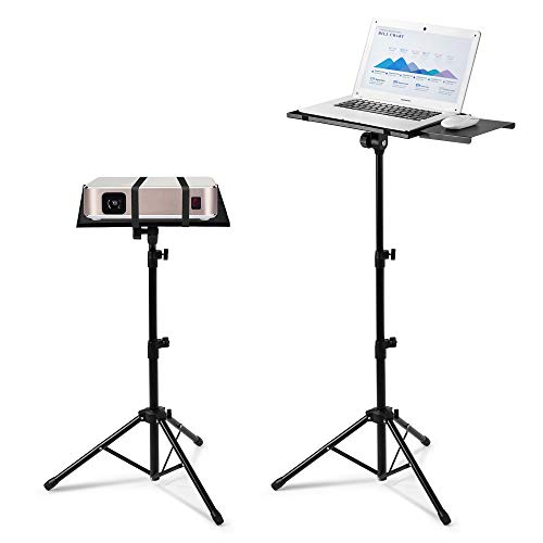 Adjustable Laptop Projector Stand, Portable Notebook Computer Tripod Stand with Mouse Tray,Foldable DJ Equipment Floor Stand,Height Adjustable 18.5 to 49 Inch