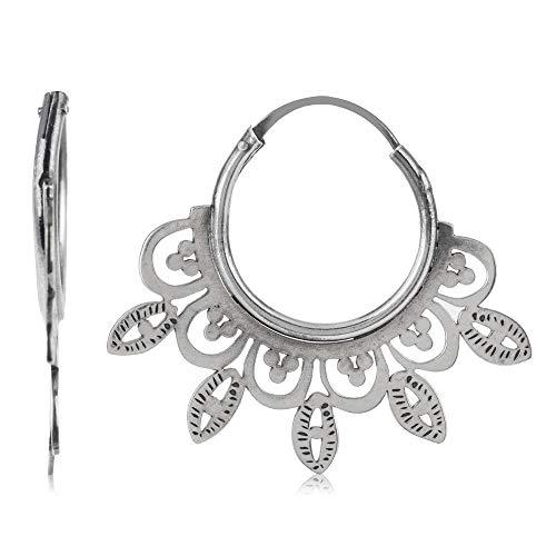 Córdoba Jewels | Pendientes en plata de ley 925 con diseño Aros Labrados Silver
