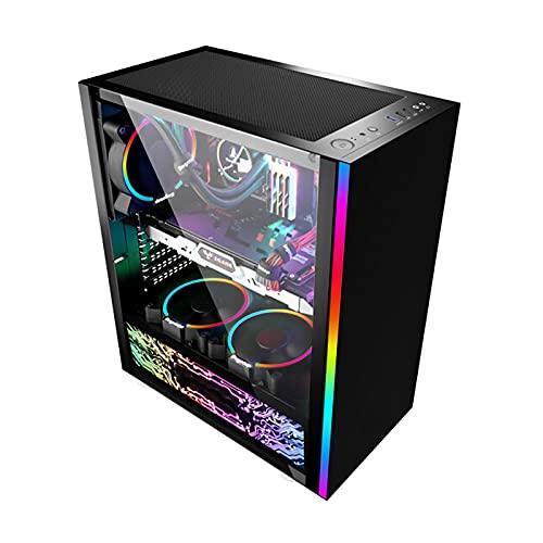 LIQIANG Semitorre Caja Pc, Escritorio De Tira De Luz RGB Caja, Fabricado En Vidrio Templado, Admite Placa Base Mini-itx Micro-ATX E-ATX SSI-eeb Ordenador Caja